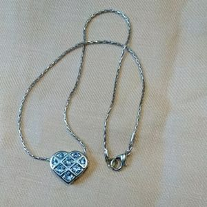 Jewelry - Silver tone aquamarine heart slide necklace